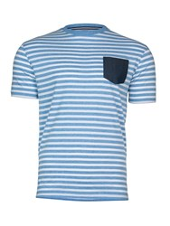 Raging Bull Pin Stripe T Shirt Sky Blue