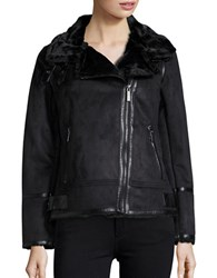 Michael Kors Faux Fur Lined Moto Jacket Black