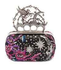 Alexander Mcqueen Night Dream Embroidered Knuckle Box Clutch Female Black