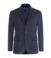 Corneliani Brushed Cotton Detachable Jacket Male Blue