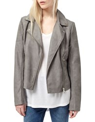 Miss Selfridge Faux Leather Biker Jacket Grey
