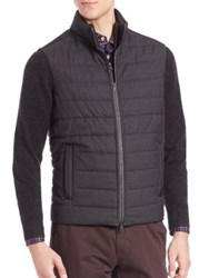 Saks Fifth Avenue Virgin Wool Quilted Bomber Jacket Grey