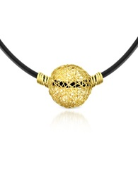 Orlando Orlandini Arianna 18K Yellow Gold Wire Pendant Rubber Necklace