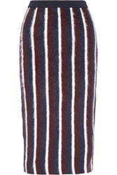 Joseph Striped Brushed Wool Blend Midi Skirt