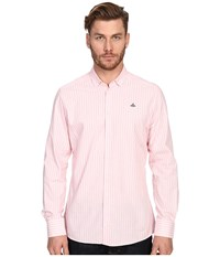 Vivienne Westwood Pyjama Polo Stretch Shirting Pink Stripe Men's Long Sleeve Button Up