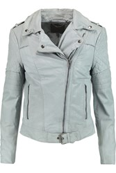 Muubaa Minsk Quilted Leather Biker Jacket Blue