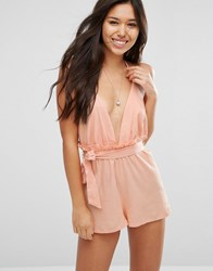 Asos Frill Back Belted Beach Playsuit Pink