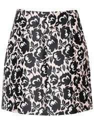 True Decadence Floral Brocade A Line Skirt Pink Black