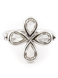 Marie Helene De Taillac Diamond Four Leaf Clover Ring Metallic