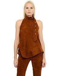 Marques Almeida Belt Detail Suede Halter Top