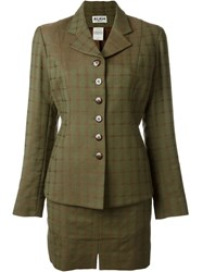 Alaa A Vintage Checked Skirt Suit Green