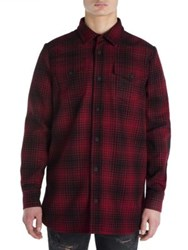Off White Wool Long Sleeve Shirt Red