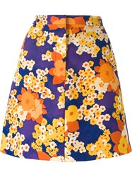 Carven Floral Print A Line Skirt Yellow And Orange