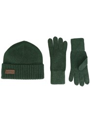 Dsquared2 Ribbed Hat And Gloves Set Green