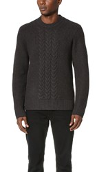 Rag And Bone Angus Cable Crew Sweater Midnight