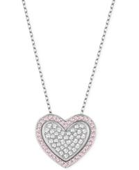 Swarovski Cupid Rhodium Tone Crystal Heart Pendant Necklace Two Tone