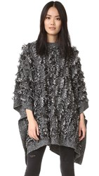 Mcq By Alexander Mcqueen Fringe Poncho Sweater Black White