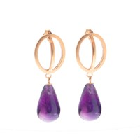 Nancy Rose Jewellery Amethyst Ellipse Earrings Gold Pink Purple