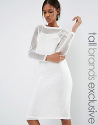 Noisy May Tall Kicks Back Mesh Grid Long Sleeve Bodycon Dress White