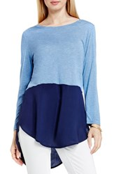 Vince Camuto Women's Two By Mixed Media Jewel Neck Tunic Indigo Heather