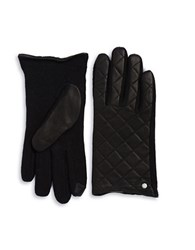 Lauren Ralph Lauren Wool Blend And Quilted Leather Touch Gloves Black