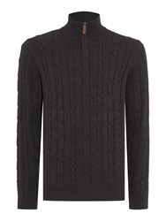 Howick Sanford Cotton Cable Funnel Neck Jumper Charcoal