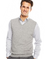 Club Room Cashmere Solid Sweater Vest Grey Heather