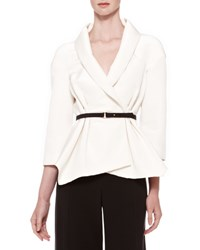 Carolina Herrera Belted Silk Wrap Blouse Ivory