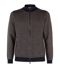 Armani Collezioni Micro Diamond Cashmere Cardigan Male Brown