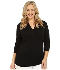 Vince Camuto Plus Size 3 4 Sleeve Pleat V Neck Top Rich Black Women's Long Sleeve Pullover