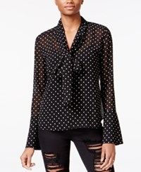 Rachel Roy Tie Neck Bell Sleeve Blouse Only At Macy's Black Ivory