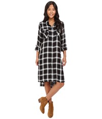 Blank Nyc Plaid Long Shirtdress In Old Polaroid Black White Women's Dress