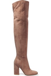 Gianvito Rossi Suede Over The Knee Boots Taupe