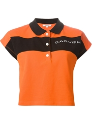 Carven Stripe Polo Shirt Yellow And Orange