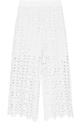 Miguelina Dana Cropped Crocheted Cotton Wide Leg Pants White