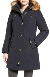 Michael Michael Kors Women's Faux Fur Trim Down And Feather Fill Parka Navy