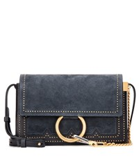 Chloe Faye Small Suede And Leather Crossbody Bag Blue