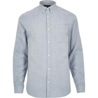River Island Mens Blue Flannel Long Sleeve Slim Shirt