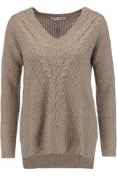 Autumn Cashmere Pointelle Trimmed Knitted Sweater Taupe