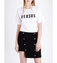 Versus Logo Embroidered Cotton Jersey T Shirt Biamco Ricamo Nero