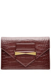 Alexander Mcqueen Embossed Leather Clutch Red