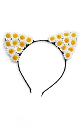 Bp Daisy Cat Ear Headband Black Ivory