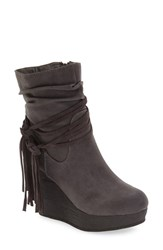 Sbicca Women's 'Tavie' Wedge Bootie Grey Faux Leather