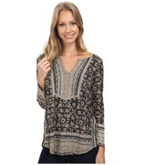 Lucky Brand Block Floral Top Black Multi Women's Clothing