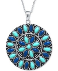 Macy's Manufactured Turquoise And Lapis Medallion Pendant Necklace In Sterling Silver