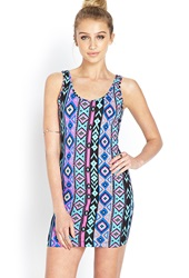 Forever 21 Backless Tribal Print Dress Black Blue