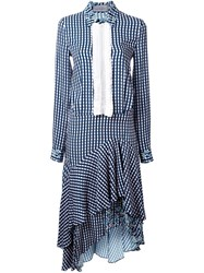 Preen By Thornton Bregazzi Gingham Asymmetric Shirt Dress Blue