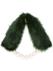 Twin Set Faux Fur And Pearl Scarf Green
