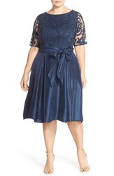 Plus Size Women's Adrianna Papell Embroidered Overlay Mikado Party Dress