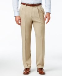 Haggar Classic Fit Eclo Stria Double Pleated Dress Pants Sand